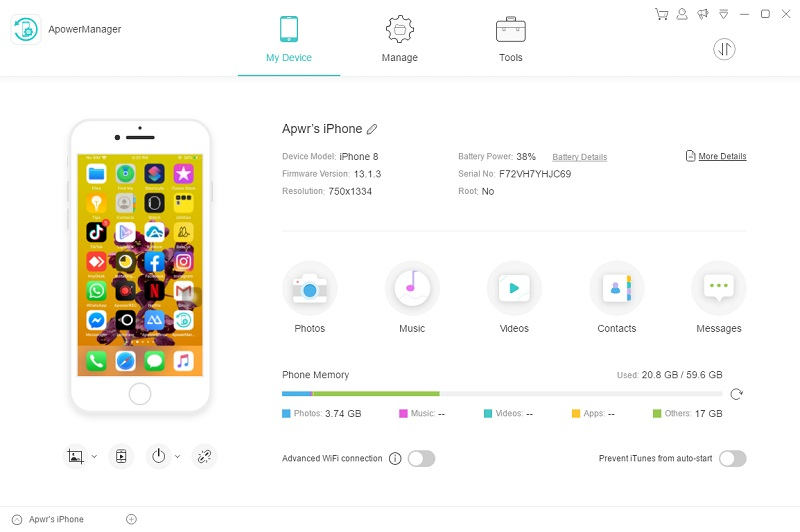 mirror ios to pc with apower manager interface