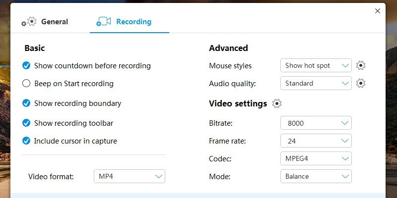 configure settings for recording