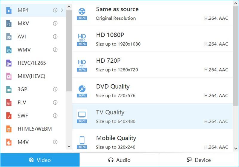 video master format