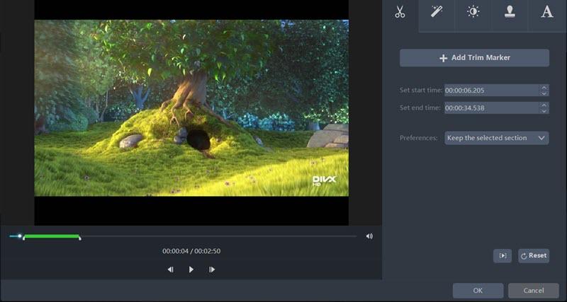 Video Master trim feature