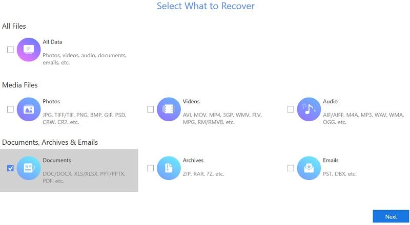 Wählen Sie den Dateityp