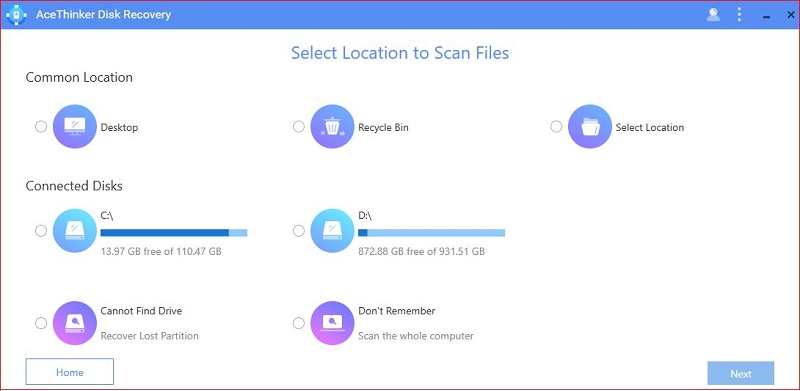 select location to scan files