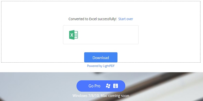 PDF converted to excel