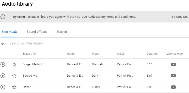 youtube audio library interface