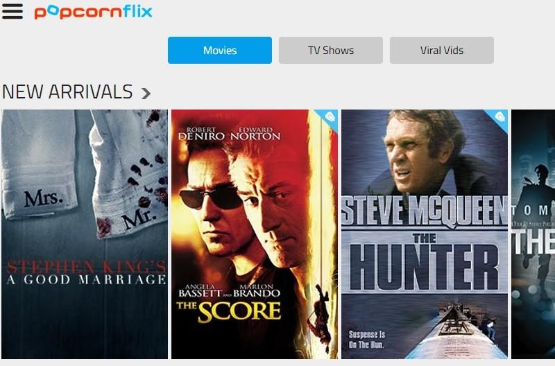 Popcornflix-Homepage