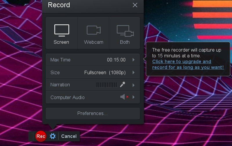 screencast interface