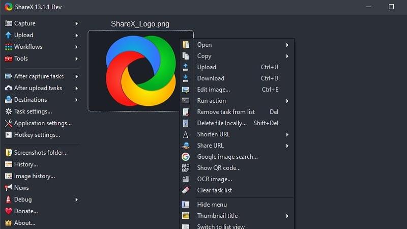 sharex main interface
