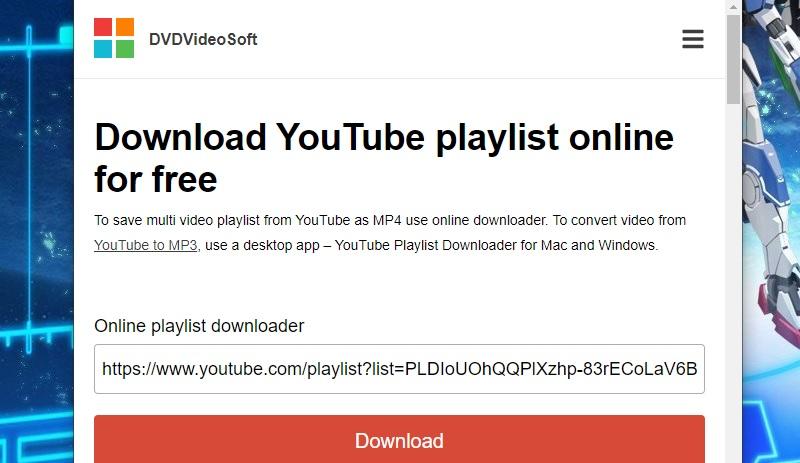 Laden Sie die YouTube-Wiedergabeliste dvdvideosoft herunter