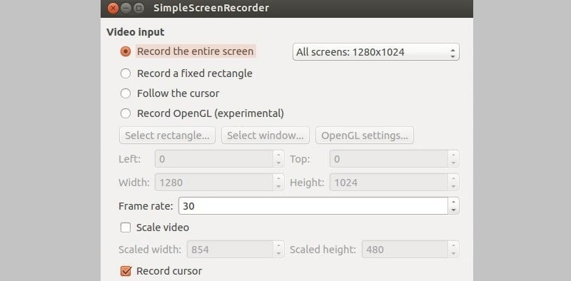 simplescreenrecorder interface