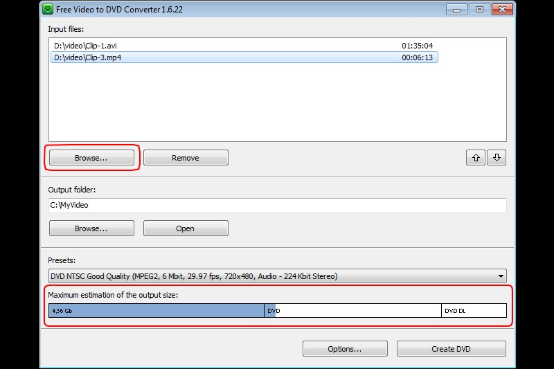 Free Video to DVD Converter interface