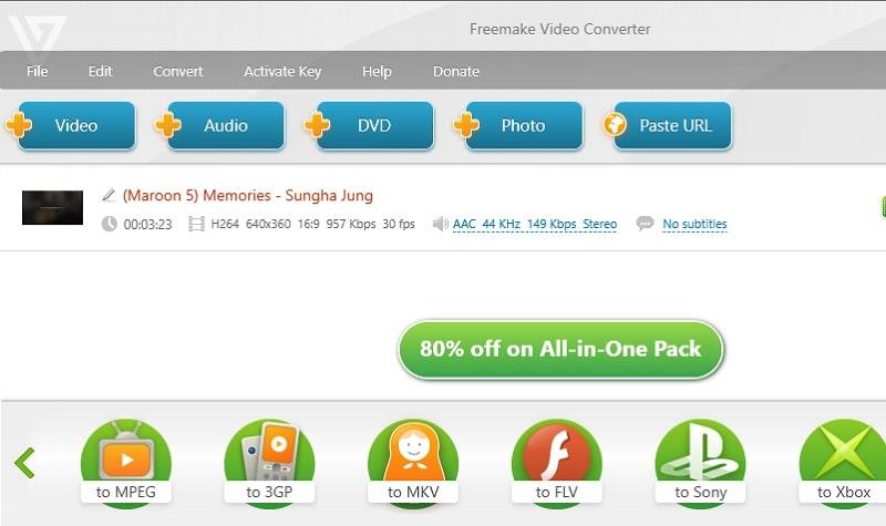 interface freemake video converter