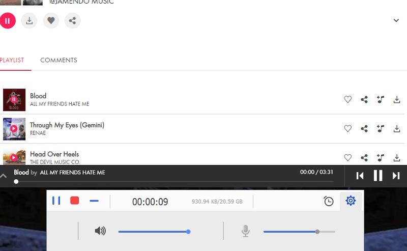 record jamendo mr start recording