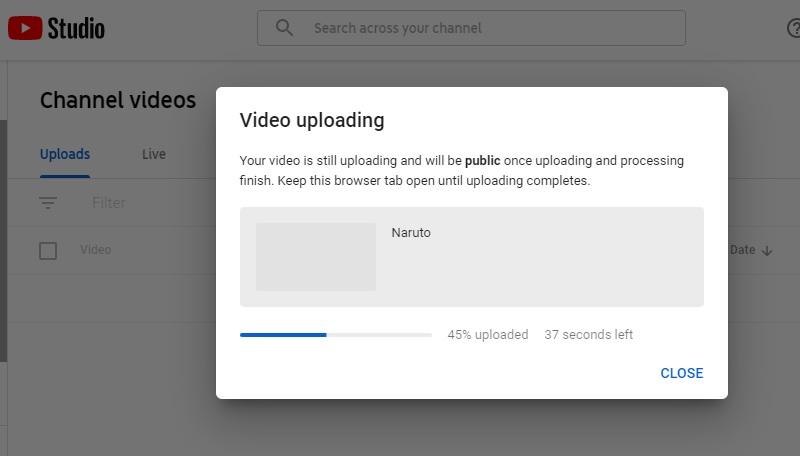start uploading on youtube