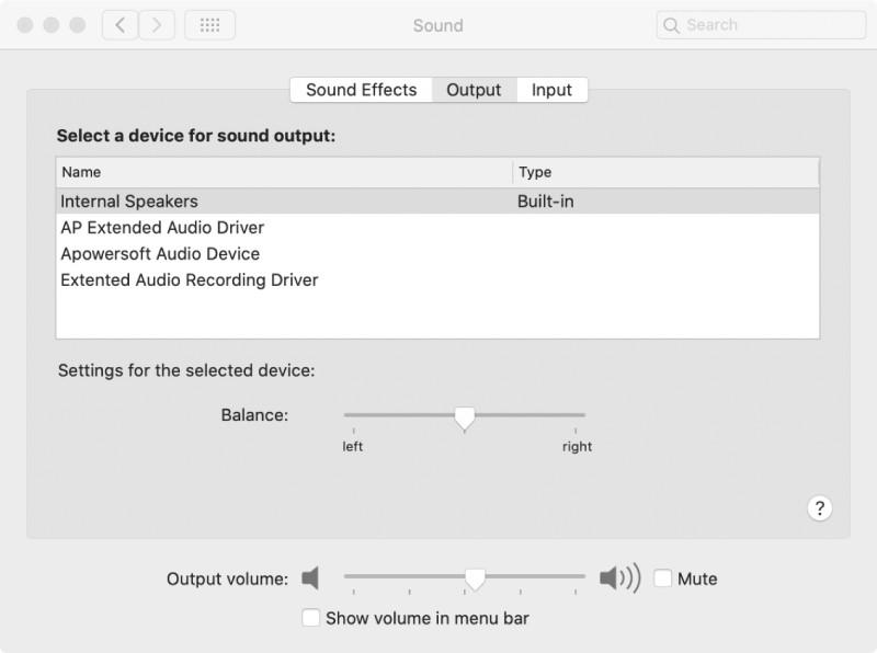 mac sound input and output