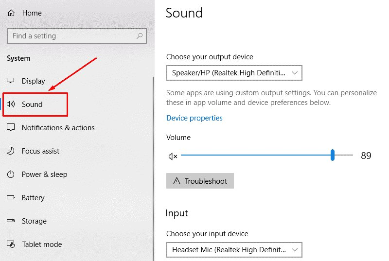 sound settings in windows 10