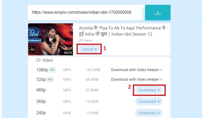download sonyliv video fvd step3
