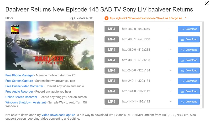 fovd start dl sonyliv video