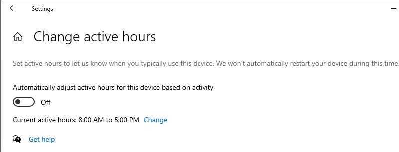 optimize windows10 active hours