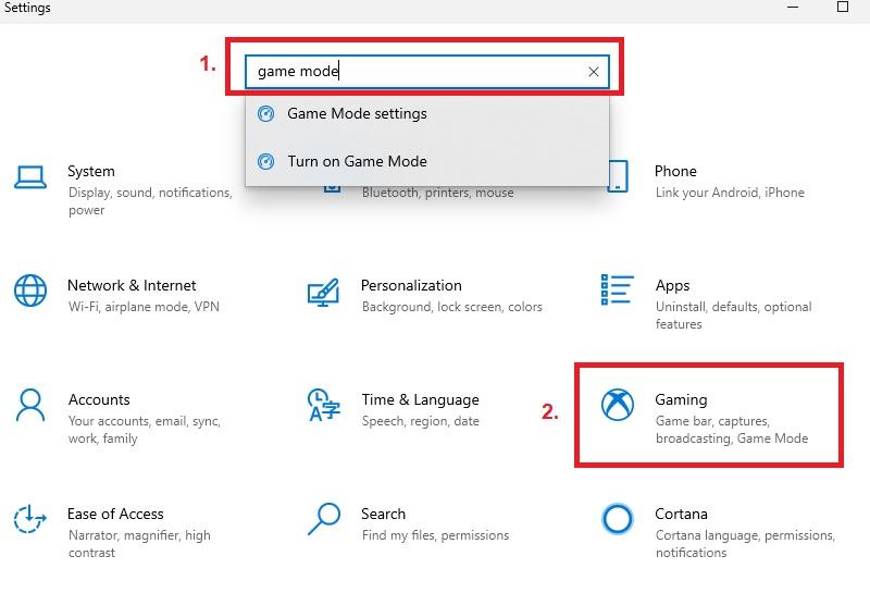 optimize windows10 game mode