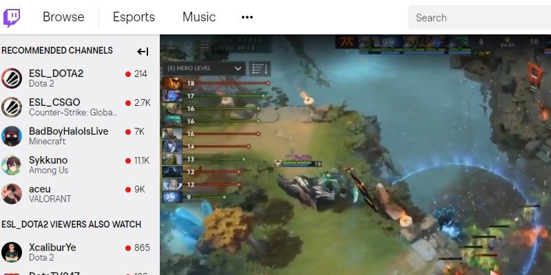 twitch interface