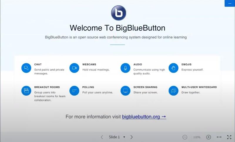 videoconference bigbluebutton interface