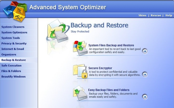advanced system optimizer interface