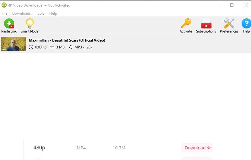 4k Downloader-Schnittstelle
