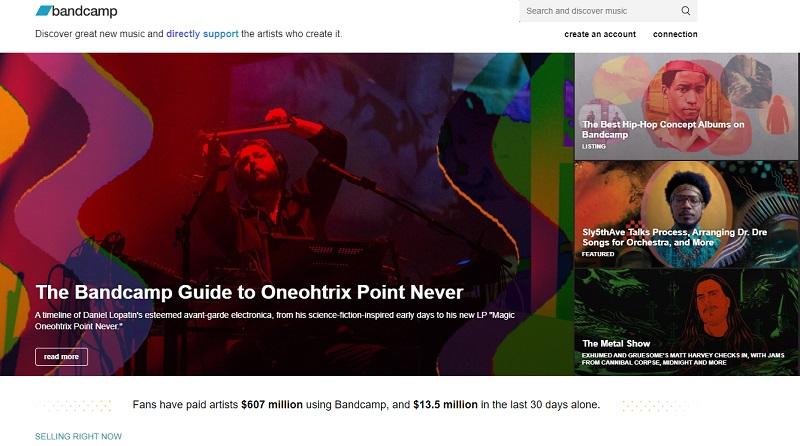 bandcamp main page