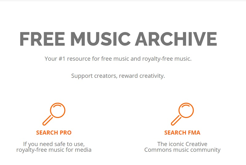 free music archive web page