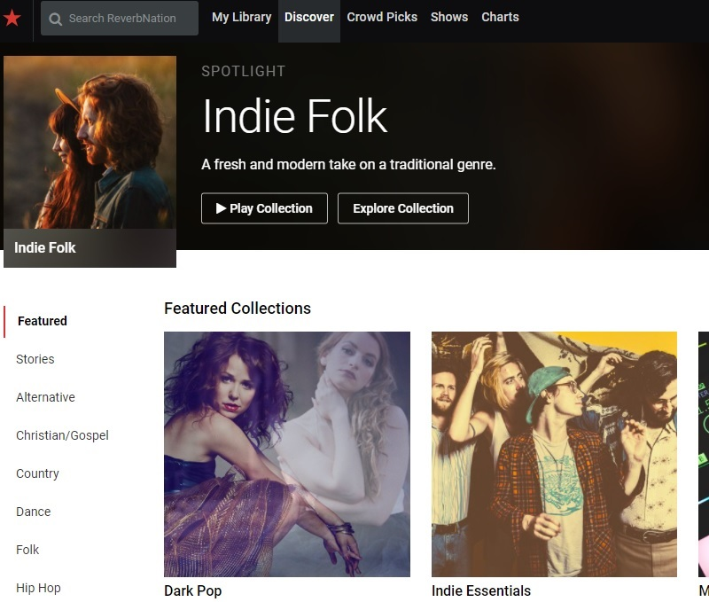 reverbnation interface