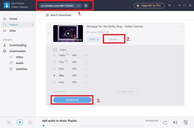 vimeo video downloader vk step2
