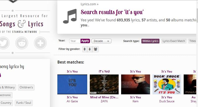 lyrics com search engine
