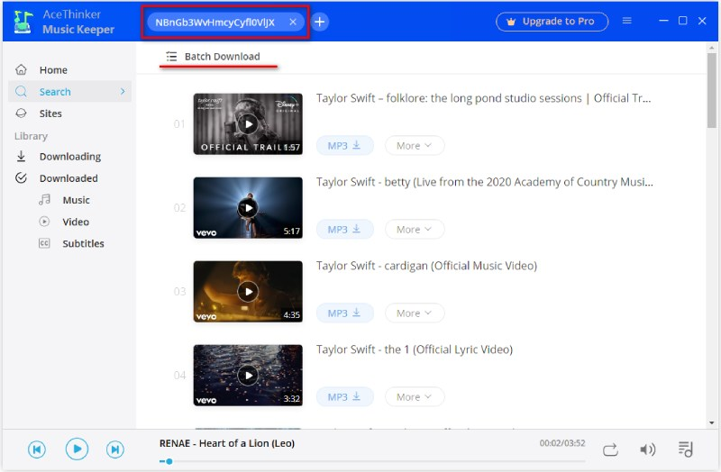 search youtube playlist