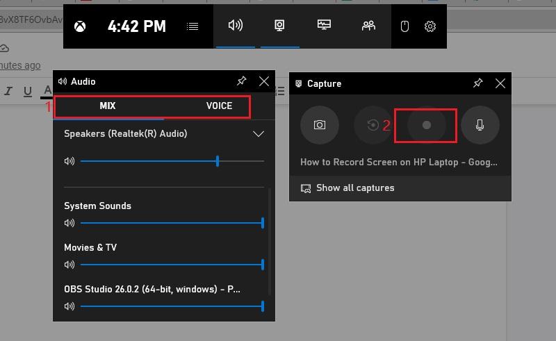 screen record on hp laptop gamebar