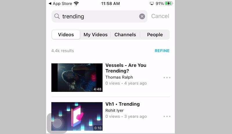vimeo ios interface