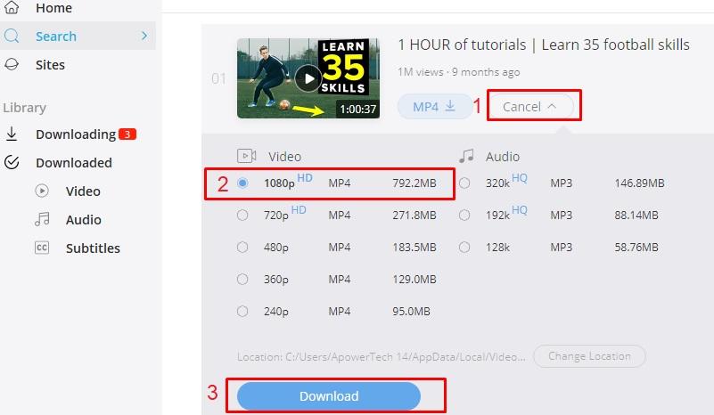 download football skills video step 3
