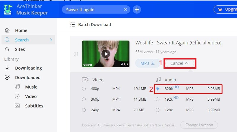 download high quality mp3 step 3