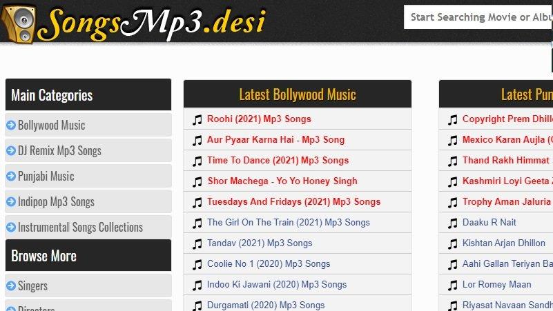 songsmp3desi interface