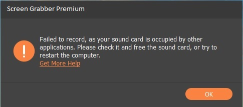 sound card occupied error
