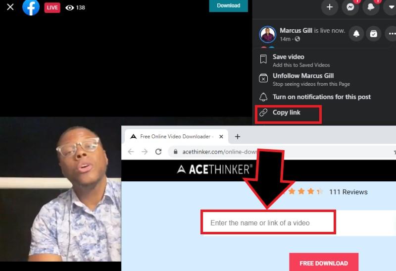 download facebook live video fovd step1