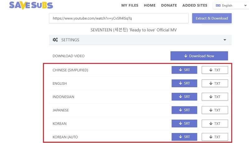 download youtube video with subtitles savesubs step1
