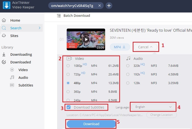download youtube video with subtitles vk step3