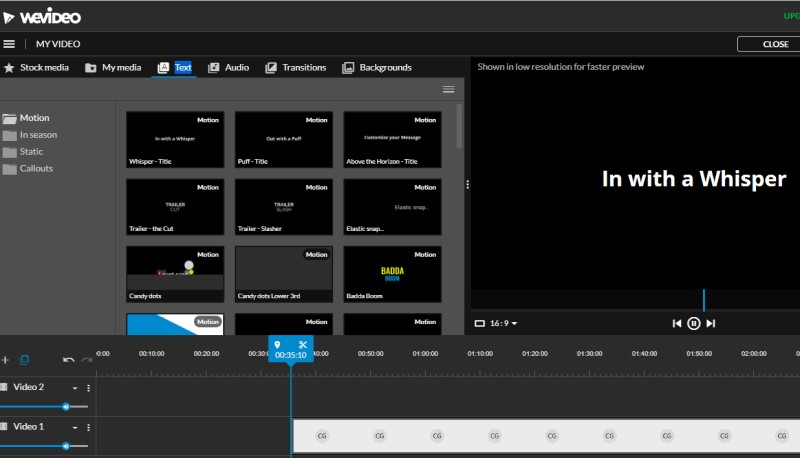 how to add text to imovie wevideo