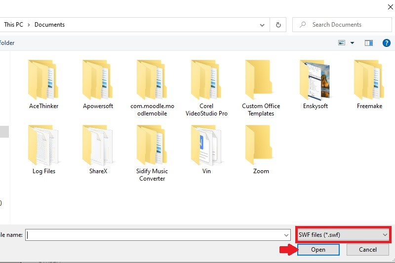open swf file step4