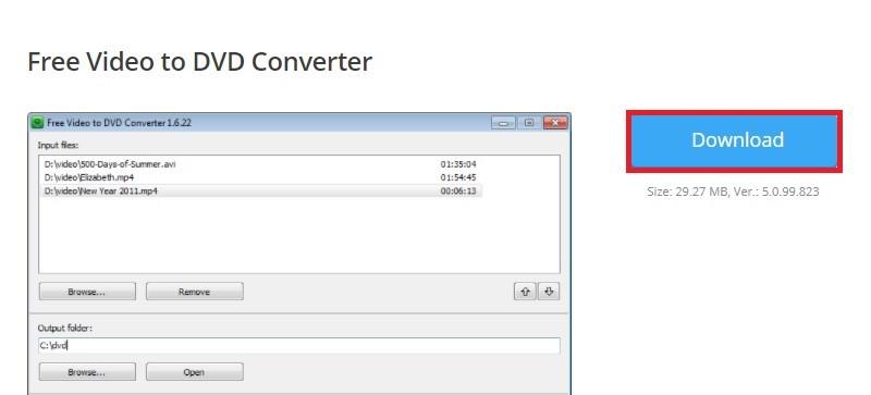 video2dvd free video to dvd converter step1