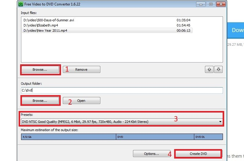 video2dvd free video to dvd converter step2&3