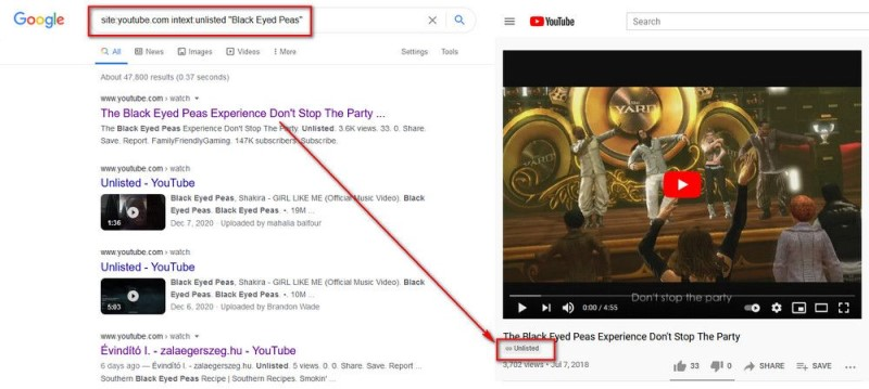 find unlisted video in youtube website