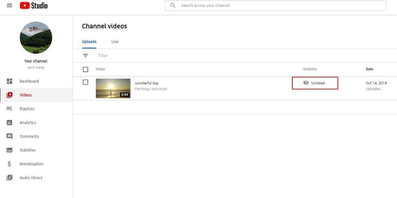 find unlisted youtube in youtube solution