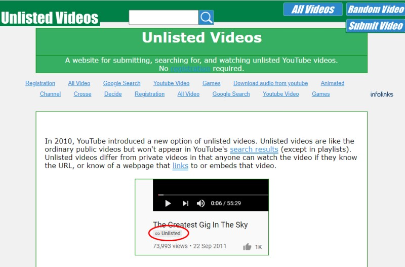 find unlisted youtube website