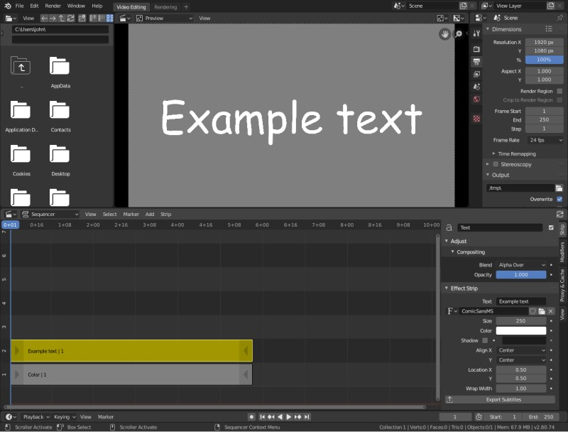 how to add text to imovie blender